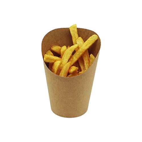 BAMI EINWEGARTIKEL | Pommesbox | Pommesschütte | Pommesbecher | Wrapbox | Braun, Pappe, 12oz. / 90x59mm H=118mm (70mm) | 100 Stück