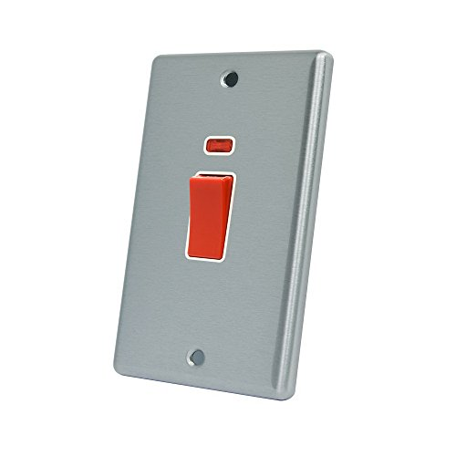 AET CSCCSWWHT Satin Chrome Classical 45A White Insert Tall Plate-45 Amp DP Cooker Switch w/Neon Indicator 2-Gang Plate