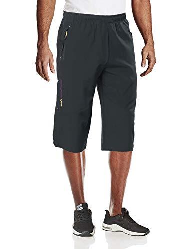 MAGCOMSEN Herren Workout-Shorts, schnelltrocknend, 3/4-Capri-Hose, Reißverschlusstaschen, Wandern, Lauf-Shorts - Grau - 52