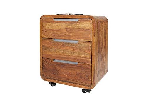 Wohnlicher Rollcontainer THELA 50 x 60 x 40 cm Sheesham Holz 3 Schubladen Bürocontainer Schreibtisch