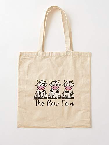 UnisylBoutique Animals Cows Family Farm Fam The Cow Tote en Coton très Sac   Sacs d'épicerie de Toile Sacs fourre-Tout avec poignées Sacs à provisions en Coton Durable,