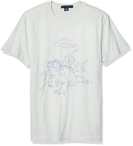 French Connection Men's Short Sleeve Crew Neck Regular Fit Graphic T-Shirt, Iguana Aqua Foam/Lavender, M