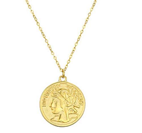 JIAQI Chapado en Oro Titanio Acero Imitación Moneda Francesa Retro Imitación Franco Moneda de Oro Joyería Artesanal Collar de clavícula