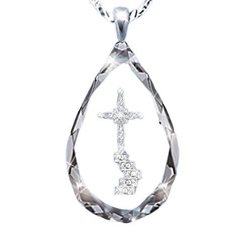 Collier pour femme avec pendentif en forme de croix en alliage