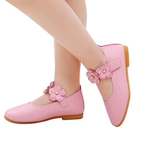 Zapatos de princesa para niñas, con flores, planos, para disfraces, fiestas, suelos, de piel lacada, cómodos, para niños pequeños, para fiestas, bodas, Rosa., 27