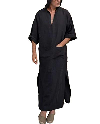 Taoliyuan Mens Kaftan Hooded Robe Linen Loungewear V Neck Long Night Gown Shirt Thobe