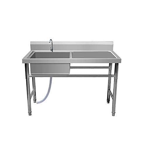 XFXDBT Commercial Kitchen Sink Stainless Steel Single Bowl with Drainboard,Free Standing Wash Basin,for Laundry Room, Backyard