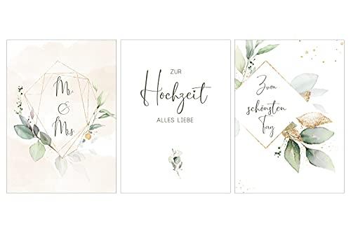 Hochzeitskarten 3er-Set Glückwunschkarten Hochzeit klassisch (gold floral)
