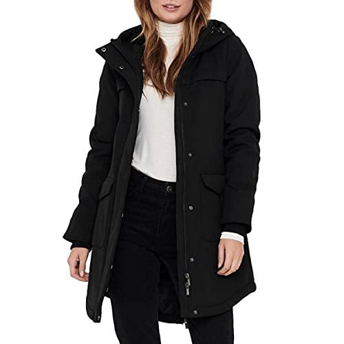 ONLY Damen Softshelljacke OnlMaastricht Kurz-Mantel mit Kapuze 15192522 Black S