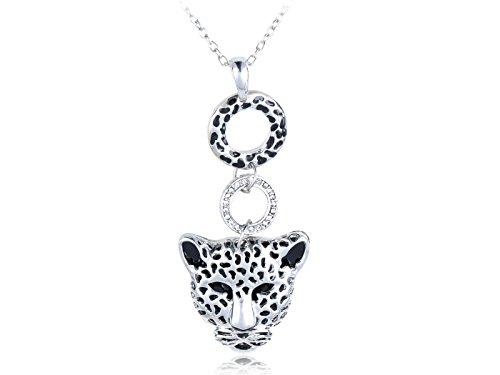 Alilang Damen Silber beschmutzte Gepard Kopf Gesicht Ring Anhänger Halskette