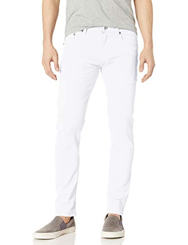 WT02 Men's Basic Color Twill Stretch Span Pants, White(New), 34X30