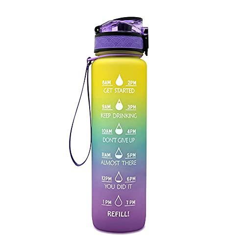 ZENING Botella de agua deportiva de 1 L, sin BPA, de plástico no tóxico, diseño a prueba de fugas, para adolescentes, adultos, deportes, gimnasio, fitness, ciclismo, escuela, oficina
