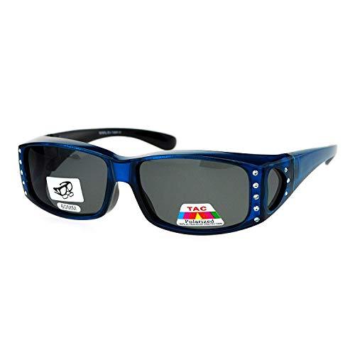 Womens Polarized Fit Over Glasses Sunglasses Rhinestone Rectangular Frame Blue