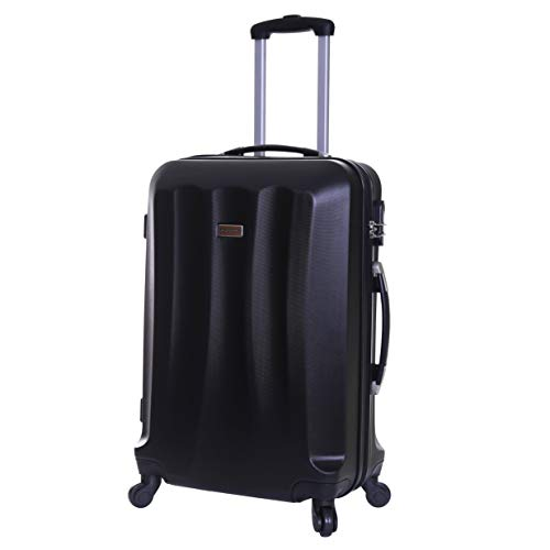 Slimbridge Hard Medium Large Suitcase Luggage Bag ABS Shell 67 cm 3.2 kg 55 litres with 4 Wheels and Integrated Number Lock, Lydde (67 cm, Black)