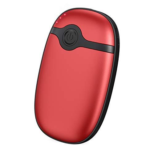 Hiluckey Calentador de Manos Recargable, 10000mAh Calentador de Bolsillo Reusable USB, Power Bank Portátil Eléctrico Calentadores para Esquiar, Acampar, Caminar Patinaje, Regalo de Invierno y más