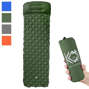 KOR Outdoors Inflatable Camping Sleeping Pad Mattress with Pillow - Green