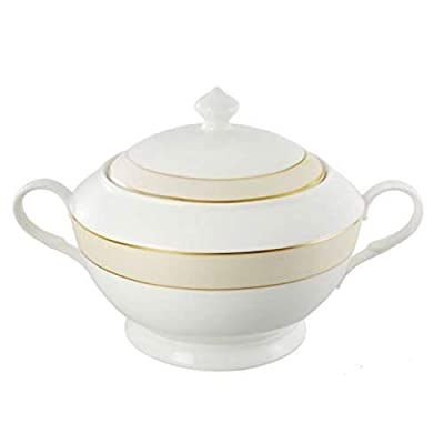 Lorenzo Import La Luna Collection Bone China Souptureen with Lid, Valentina Pattern by Lorren Home Trends, Gold