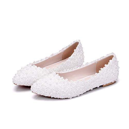 YIZHIYA Zapatos de Novia de Mujer,Zapatos de Ballet Planos de Perlas de...