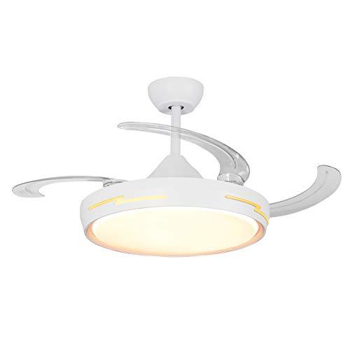 Lámpara con ventilador de techo 54 W regulable ventilador de techo mando a distancia LED ultra silencioso plafón LED lámpara de techo para salón dormitorio lámpara plegable