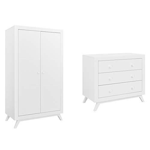 Commode à langer et armoire 2 portes Fiore - Blanc