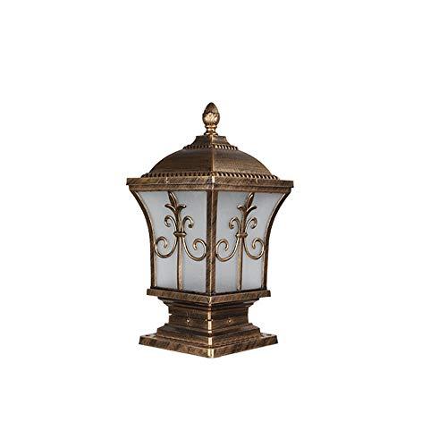 KAIKEA Europese bronzen plug-in elektrische E27 paalkap vierkant heklicht, IP65 paalverlichting, waterdichte buitenlampjes, houten palen, terras, tuindecoratie of hek LED-verlichting (14,9 inch)