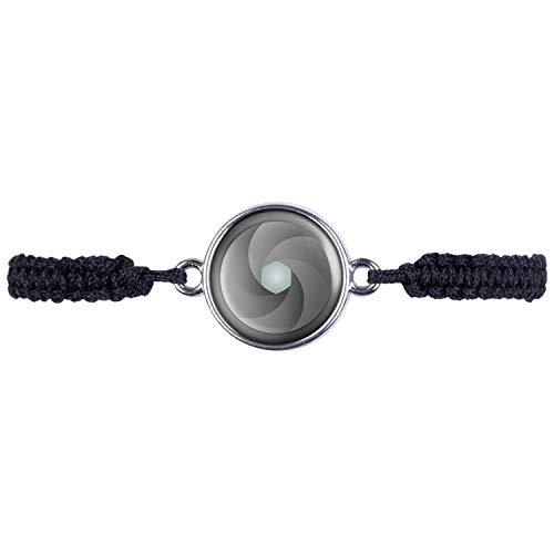 Mylery - Bracciale con paraluce, obiettivo aperture, fotocamera digitale, DSLR, argento o bronzo, 16 mm e base metal, colore: argento, cod. ml_000297_009_a