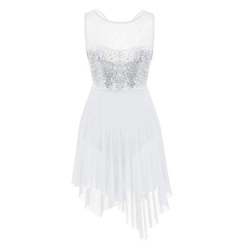 Agoky Damen Ballettkleid ärmellos Ballett Trikot Sport Body Rückenfrei Tanzkleid Kostüm mit Pailletten Top Asymmetrischer Tüll Rock gr. XS-XL Weiß XS