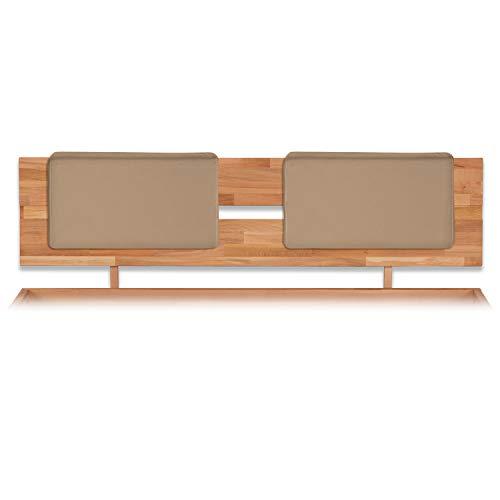 Bubema Polster-Steckkissen für Bettkopfteil, 2er-Set,für viele gängige Betten, 7 versch. Farben Farbe Karamell