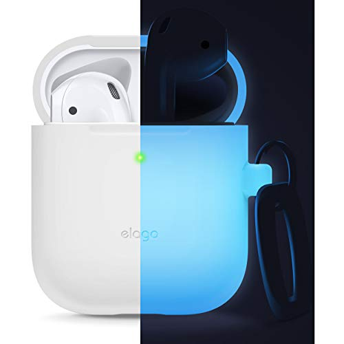 elago Silicone Case with Keychain Designed for Apple AirPods Case, LED Visible [ Nightglow Blue ]