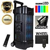 EMB EBZ120 PK1 1000W Power LED Party Bluetooth/USB/SD Stereo Rechargeable Portable Speaker - Perfect for Beach/Home/Birthday/DJ Party/Camp/Jobsite/Construction/Industrial