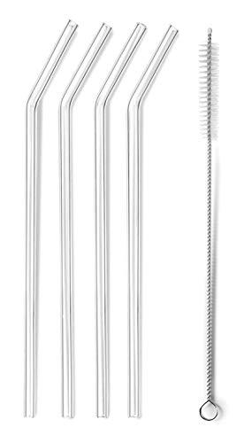 Lacor 63133 Set 4 pajitas + Cepillo, Cristal, 21'5 cm
