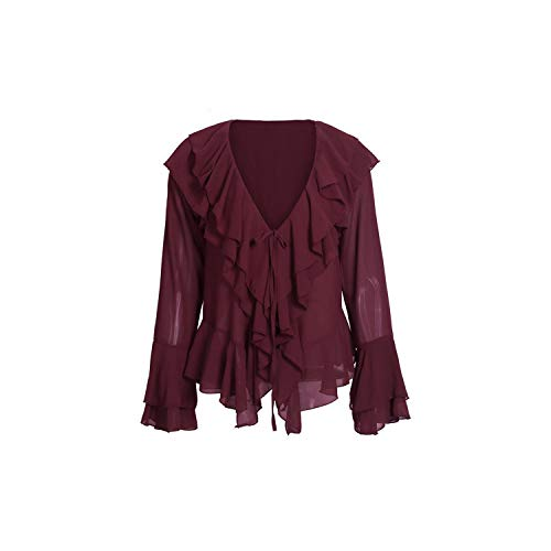 Elegante Ruches Chiffon Blouse Shirt Vrouwen Casual Flare Sleeve Zomer Blouse Topjes, Bordeaux rood, S