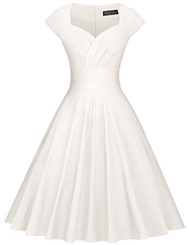 GownTown Womens Dresses Party Dresses 1950s Vintage Dresses Swing Stretchy Dresses Ivory XX-Large