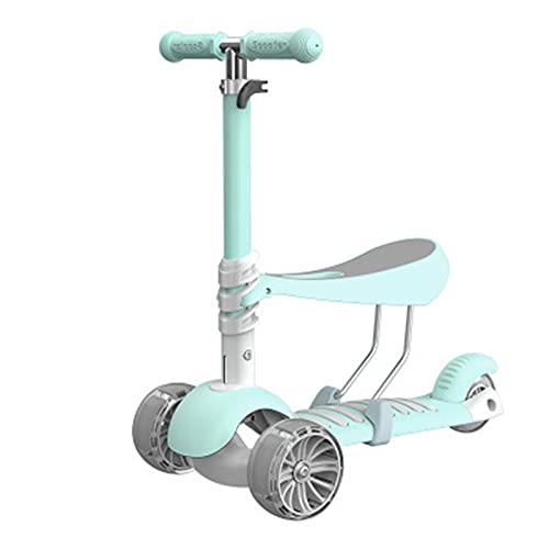 Scooters para niños 2-12 años Scooter Plegable de Edad con Asiento extraíble LED LED Light Ruedas DE Rueda APARTADA Freno Ajustable Altura,C