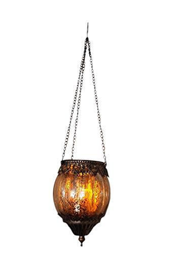1 portavelas Marruecos, decoración para colgar de cristal, metal dorado (anchura x...
