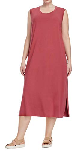 Eileen Fisher Viscose Jersey Round Neck Mid Calf Dress Rosewood Large