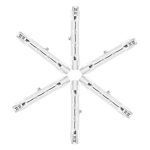 Eande Bombilla Halógena Alargada 6x R7s 78mm J78 100W Lámpara Halógena Lineal Regulable Luz Blanco Cálido 2800K AC 220V 1800LM CRI99 Ángulo de Haz de 360° Luces de Enchufe Horizontal Para Reflector