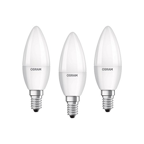 Osram LED Base Classic B Lampe, 5.7 W - Kerzenform mit E14-Sockel, nicht dimmbar, Ersetzt 40 Watt, Matt, Warmweiß - 2700 Kelvin, 3er-Pack