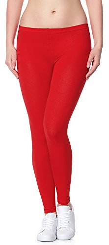 Ladeheid Damen Leggings Long aus Baumwolle LAMA02 (Rot18, 4XL/5XL)
