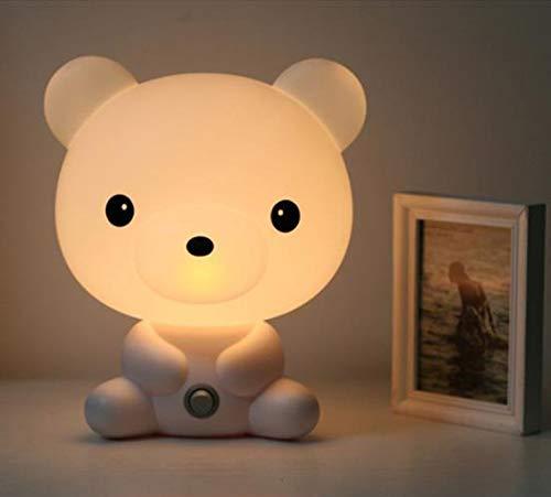 Baby&me Lampara buenas noches Osito. Luz cálida para dormir mejor o leer un libro con los niños. Luz nocturna infantil. Lámpara pequeña para mesita de noche o estantería, 24 cm de altura.