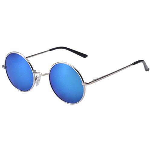 QHGstore Hombres Mujeres Ronda de la vendimia con espejo gafas de sol gafas al aire libre gafas de sol deportivas azul