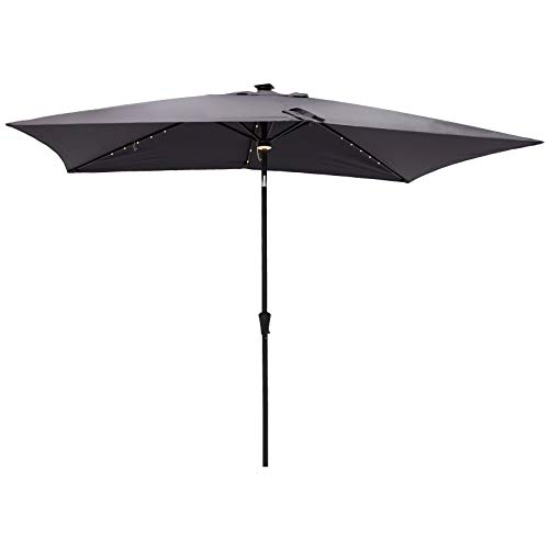 C-Hopetree Rectangular Outdoor Patio Market Umbrella with Solar LED Lights 6.5 x 10 ft, Anthracite