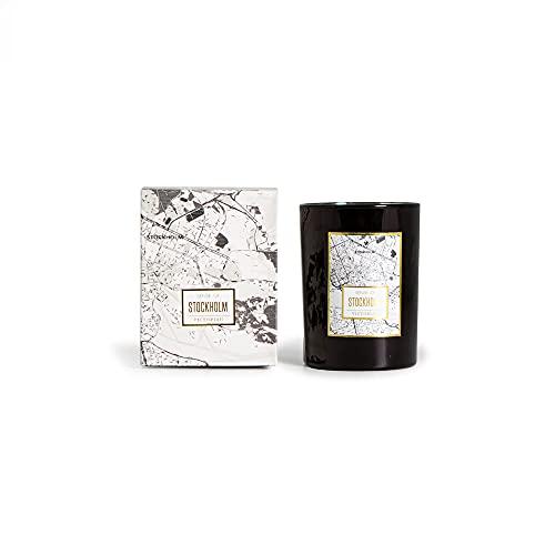 VICTORIAN Maps Stockholm - Vela aromática de cera de soja, aroma de alta calidad, 45 horas de combustión, vela de soja natural en paquete de regalo, hecha a mano, diámetro 8 x 10,5 cm