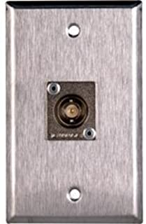 1-Gang Stainless Steel Wall Plate with 1 Canare BCJ-JRU BNC Feed-Thru-by-TecNec