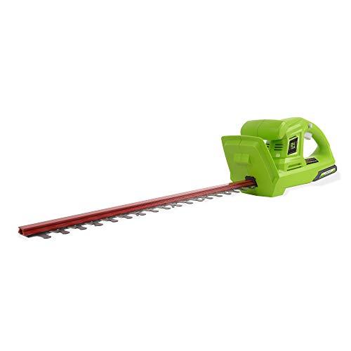 Greenworks Tools G24HT Cortasetos Inalámbrico (Li-Ion 24 V 47 cm de longitud de corte 17 mm de espacio entre dientes 2800 cortes/min mango en forma de T sin batería ni cargador)