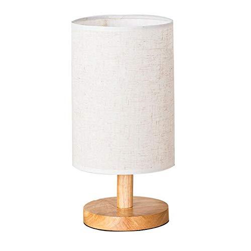 YLEI Tischlampe, Nachttischlampe aus Stoff, E27, mit Holzsockel, Runde, Tischlampe Holz, schönes Licht, für Schlafzimmer, Wohnzimmer, Kinderzimmer, Hotel, Café,Weiß