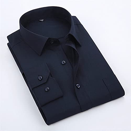 ZLDGYG ZMMDD Camisa de Vestir para Hombre Color sólido Plus Negro Blanco Azul Gris Chemise Homme Camisa de Manga Larga Informal de Negocios para Hombre (Color : Blue, Size : Asian XL Label 41)