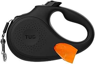 TUG Oval 360° Tangle-Free Retractable Dog Leash with Integrated Waste Bag Dispenser (Medium, Black)