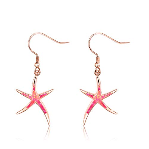 Starfish Earrings, 925 Sterling Silver with Pink Opal Fish Hoops Earings, Nautical Hawaiian Sea Beach Earrings, Starfish Jewelry Mother Day Gifts for Women Starfish Lovers (Pink)