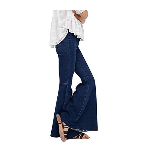 XinXinFeiEr Estiramiento Vaqueros Delgados De Moda del Altavoz Pantalones De Campana De La Cintura Elástica Cepillado Casual (Color : Dark Blue, Size : S)